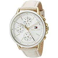 Tommy Hilfiger Women's Casual Sport Quartz Watch with Leather Calfskin Strap, Champagne, 17 (Model: 1781790