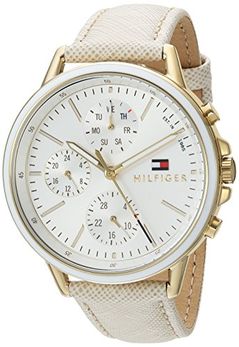 Tommy Hilfiger Women's 'Sport' Quartz Gold-Tone and Leather Casual Watch, Color:Champagne (Model: (Dial Flag Bezel)