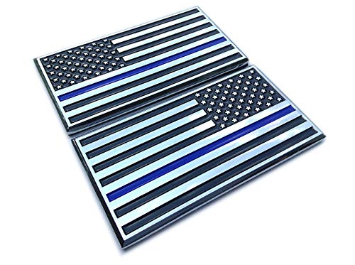 - Thin Blue Line Decal Sticker Emblem x 2 American Flags for Car Auto Truck - Support Police & Law Enforcement