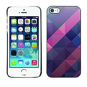 FlareStar Colour Printing Polygon Purple Blue Pink Pattern 3D cáscara Funda Case Caso de plástico para Apple iPhone 5 / iPhone 5S