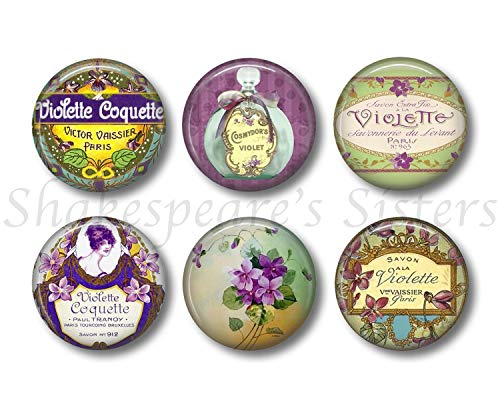 (Pretty Violet Floral Magnets - Six Round 1.5 Inch Magnets - Vintage French Perfume Label Design - Kitchen Decor)