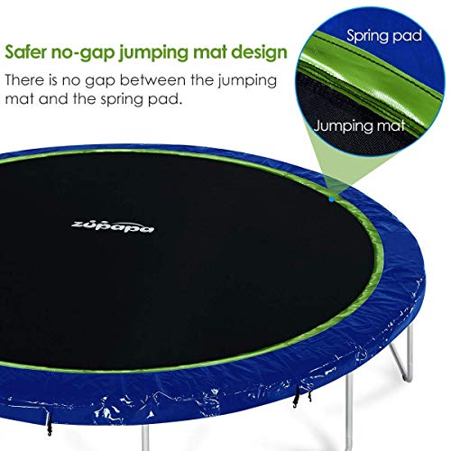 Zupapa 15 14 12 Ft TUV Approved Trampoline with Enclosure Net and Pole and Safety Pad and Ladder and Jumping Mat and Rain Cover 108 Springs Size 15 Feet by Zupapa (Image #2)
