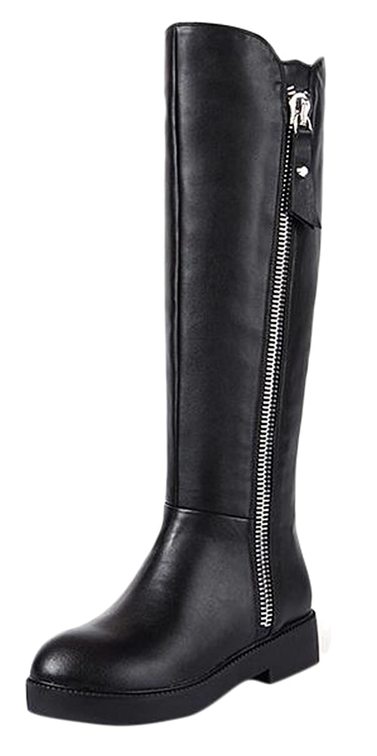 Ace Women's Autumn Winter Real Leather Flat Knee-high Knight Boots Plus Size