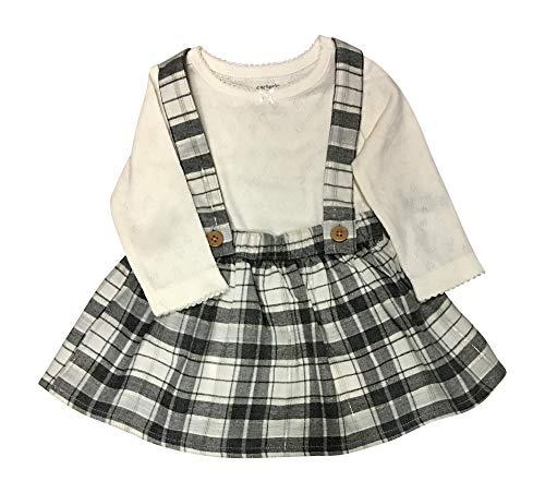 Carter's Baby Girls Buffalo Check Plaid Flannel Suspender Skirt Set (6 Months, White)