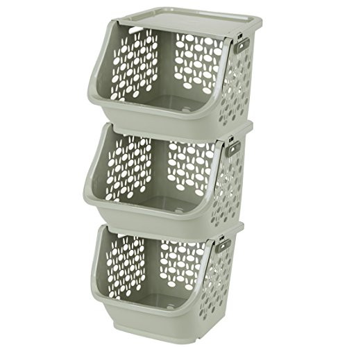 (WOLFBUSH 3Pack Storage Stacking Bins Household Kitchen Plastic Stackable Storage Vegetable Fruit Food Storage Basket Rack with Cover (Green))