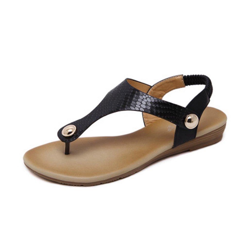 JITIAN Fashion Frauens Flip Flops Sandalen mit Metallschnallen Low Wedge Heel Elastisch Sommer Strand Tanga Schwarz  35 EU|Schwarz