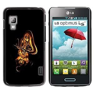 Be Good Phone Accessory // Dura Cáscara cubierta Protectora Caso Carcasa Funda de Protección para LG Optimus L5 II Dual E455 E460 // Abstract Gold Shape