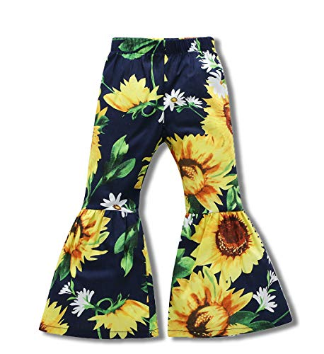 (Little Kids Baby Girls Summer Floral Print Long Pants Sun Flower Bell-Bottomed Pants Trousers Outfit (Black, 4-5)