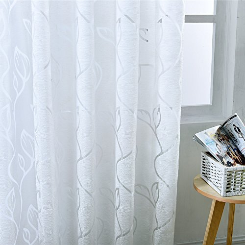 Norbi Modern Leaves Tulle Sheer Voile Panel Drapes Window Curtain