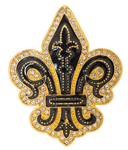 "Artisan Owl Fleur de Lis Flower of The Lily French Brooch Pin 2"" with Crystal Accents (Gold Tone)"