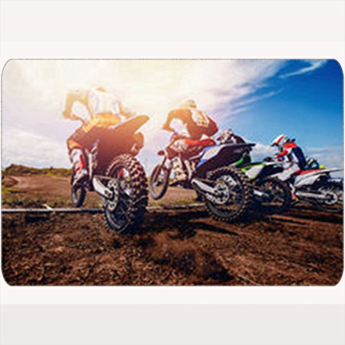 GisRuRu Non-Slip Door Mats Team Athletes On Mountain Bikes Starts Sports Recreation Motocross Transportation Welcome Doormats 16X24 Inches Bathroom Outdoor Indoor Floor Non-Slip Door Rugs