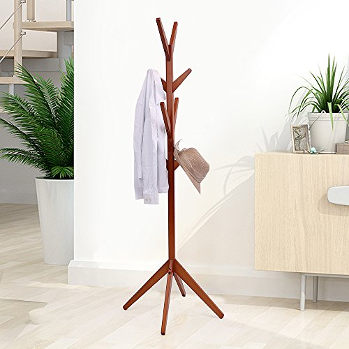 maxgoods Coat Rack Free Standing,Modern DIY Heavy Duty Entryway Wooden Clothing Rack Hat Corner Hall Umbrella Stand Tree for Bedroom Living Room Office,Easy Assamble (Size 1) by maxgoods (Image #1)