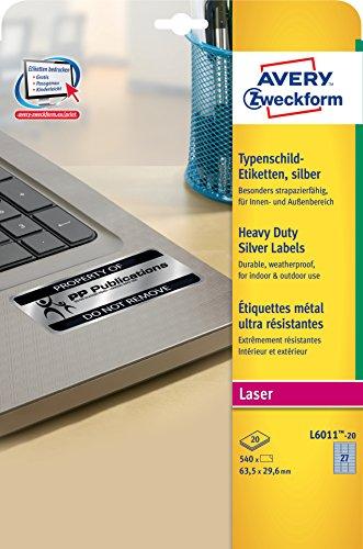 Avery Zweckform L6011-20 Typenschild-Etiketten (A4, 540 Stück, 63,5 x 29,6 mm, wetterfest) 20 Blatt silber