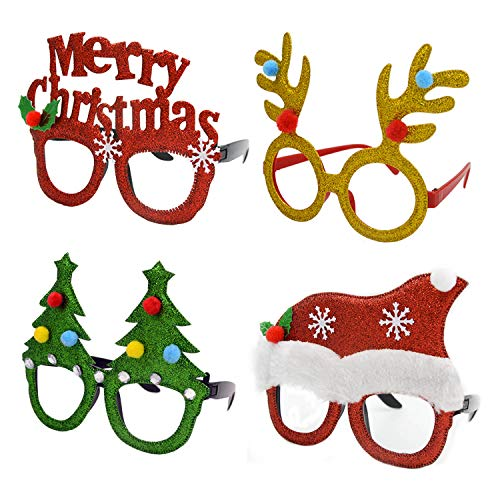 b3be1412e57ec U-Goforst 8 PCS Christmas Holiday Party Fancy Headband Hats Glasses Frames  Reindeer Antlers Photo Prop Booth(Christmas A)
