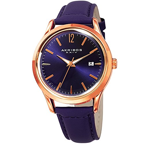Akribos XXIV Women's Quartz Rose-Tone Case with Rose-Tone Accented Purple Sunray Dial on Purple Glove Style Genuine Leather Strap Watch AK921PU