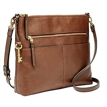 Fossil Women's Fiona Leather Large Crossbody Handbag, Brown
