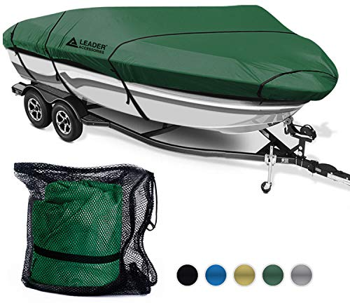 Leader Accessories 600D Polyester 5 Colors Waterproof Trailerable Runabout Boat Cover Fit V-Hull Tri-Hull Fishing Ski Pro-Style Bass Boats,Full Size (14-16L Beam Width up to 90, Olive)
