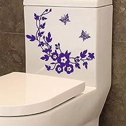 Wall Sticker,Ikevan Flower Toilet Seat Wall Sticker Bathroom Decoration Decals Decor Butterfly Mural (Purple)