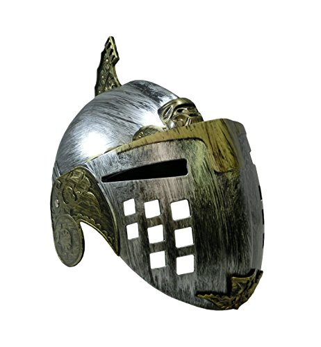 Roman Gladiator Costume Helmet with Flip Up Face Mask, Gold Pewter, One Size -
