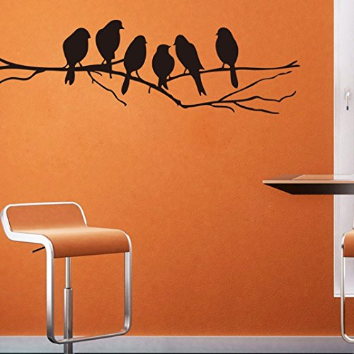 Ussore 1pc Wall stickers Decal Removable Black Bird Tree Branch Art Home Mural Decor Wall Treatments Luminous Stickers for Kids Living Room Bedroom Wallpops Decal