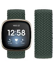 Vozehui Compatibel met Fitbit Sense/Fitbit Versa 3-riem, elastisch, ademend, zacht, nylon, kinitting sportband, voor Fitbit Versa 3/Fitbit Sense, dames en heren