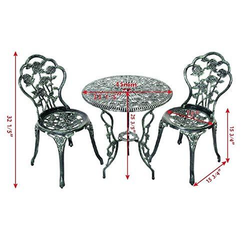 AK Energy Cast Iron & Aluminum Antique Style Flower Pattern Patio Garden Furniture Chair Dining Table Set w/Umbrella Hole (Loungers Iron Cast Sun)