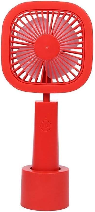 Color : Square Red Fan USB Charging Fan Summer Cool Foldable Handheld Fan Mini Desktop Square Fan Round Fan 3 Gear Wind Mini Portable Cooling Fan