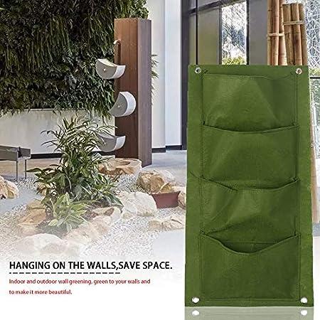 Tikafr – El jardín Vertical de Pared de 4 Bolsillos elevan Bolsas para la Flor de Plantas Que cuelgan Bolsas de Fieltro para el jardín Interior en pleno Aire: Amazon.es: Hogar