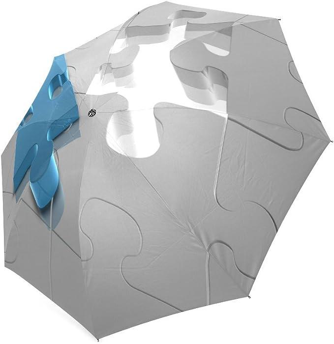 Custom Autism Awareness Puzzle Pieces Compact Travel Windproof Rainproof Foldable Umbrella