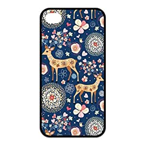 iPhone 4/4S Case, Deer Hard TPU Rubber Snap-on Case for iPhone 4 / 4S