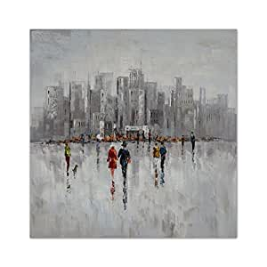 Hand-painted Modern Abstract Oil Paintings Wall Home Decor Extra Large-City at Ice Age Picture Painting on Canvas Stretched and Framed Ready to Hang 39 x 39 inch Plus Size