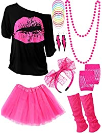80s Costume Accessories Set, T-Shirt Tutu Headband Earring Necklace Leg Warmers (L, Rose Red)