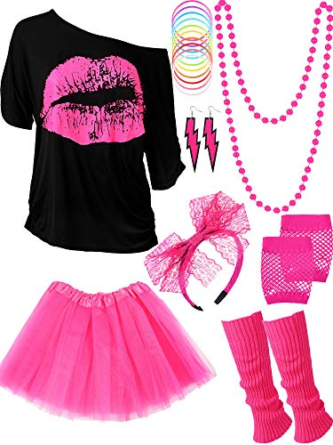 80s Costume Accessories Set T-Shirt Tutu Headband Earring Necklace Leg Warmers (XXXL, Rose Red)