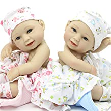 Soft Fashion Truly Real Smiling Nurturing Reborn Baby Dolls Boy And Girl Mini 11 Inch Full Silicone Vinyl Newborn Babies Twins Kids Birthday Gift Portable Reduce Anxiety Help Autism Pregnant Women