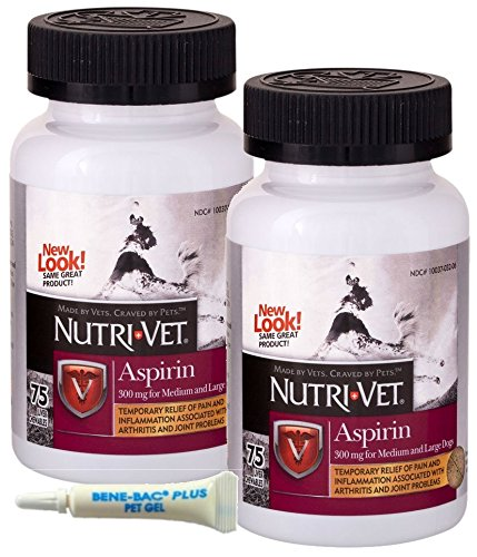 Nutri-Vet K-9 Aspirin 300mg Chewables for Medium and Large Dogs, 75ct, Safety-Sealed 2-Pack