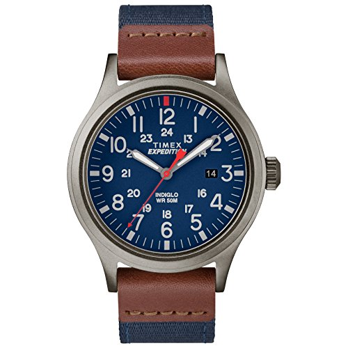 Timex-Mens-TW4B14100-Expedition-Scout-40-BlueBrownGray-LeatherNylon-Strap-Watch