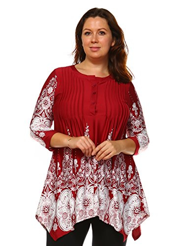 Neck Shell Print Drape (Mili Plus Size Pleated Front Tunic Shirts Scoop Neck Three Button Blouse Lace Print 3/4 Sleeve)