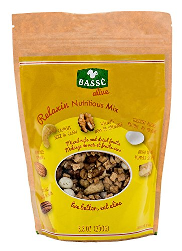 Relaxin Nutritious Trail Mix from Basse Alive, 8.8oz Bag with Pecans, Dried Apples, Yogurt Raisins, Almonds, Cashews, Walnuts & More, Trail Mix with Great Calories from Yogurt Raisins, Pecan (Yogurt Covered Cashews)