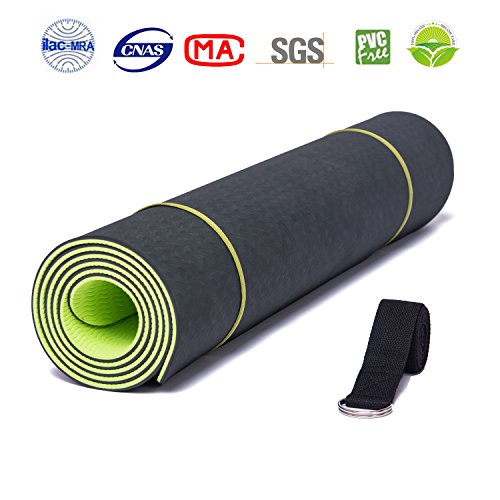 ATHOON Non Slip Yoga Mat with Strap 2018 New Eco Friendly Thick Exercise TPE Yoga Mat for Men & Women Green Black