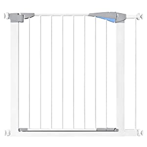 """35.8"""" Auto Close Baby Gate, Extra Wide Walk Thru Pet Gate with Pressure Mount for Stairs, Doorways and Hallways, Includes 2.7"""" Extension Kit, White"""