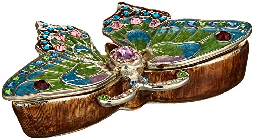 - Ciel Collectables 1013638A Butterfly Jeweled Blue Enamel Trinket Box, 4.25