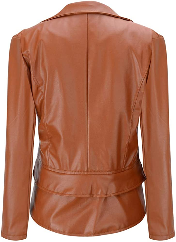 Soluo Womens Faux Leather PU Short Jacket Bomber Motorcycle Bikers Jackets Coats Tops Blouses Sweatshirts Overalls