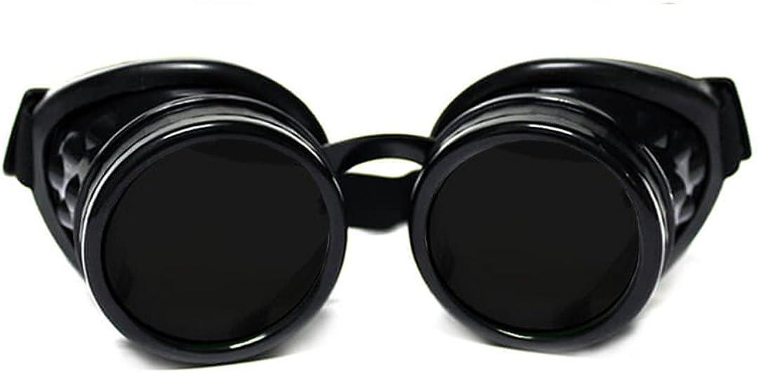 GloFX Steampunk Goggles Tinted - Rave Eyes Gothic Welder Cyber Punk (Black)