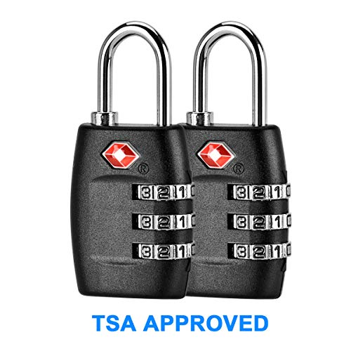 TSA Approved Luggage Locks 2 Pack,Three Digit Combination Padlocks,Travel Lock for Suitcases & Baggage -Black