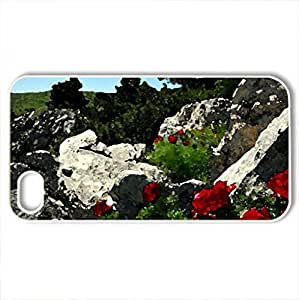 Poppies - Case Cover for iPhone 4 and 4s (Fields Series, Watercolor style, White)