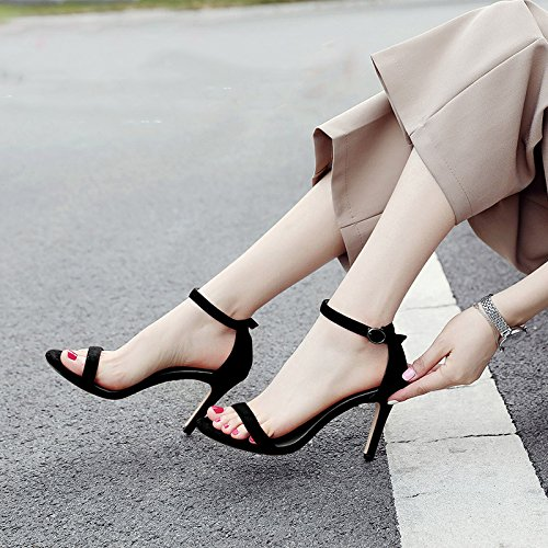 MOM Black fine with Summer wild high small fresh a belt black with buckle heels sandals word ZZr0xY