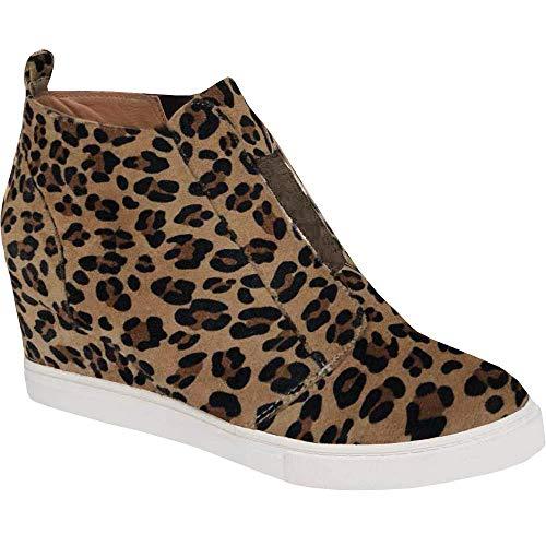 Womens Leopard Wedge Sneakers Platform Slip On High Top Mid Heel Ankle Booties ()