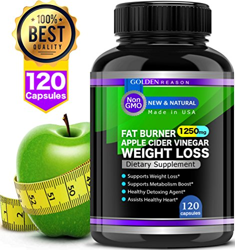 Green Apple Cider Vinegar. Healthy Weight Loss & Extra Strength Fat Burner. Non GMO - 120 Capsules. for Women and Men. Made in USA