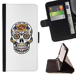 BullDog Case - FOR/Sony Xperia Z1 L39 / - / SKULL FLORAL ROSE LOVE WHITE YELLOW /- Monedero de cuero de la PU Llevar cubierta de la caja con el ID Credit Card Slots Flip funda de cuer