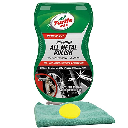 Turtle Wax Premium Grade Chrome & Metal Polish (11 oz) Bundle With Microfiber Cloth & Foam Pad (3 Items)
